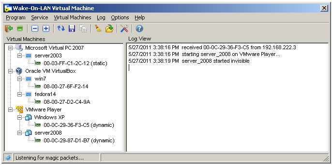 Wake-On-LAN Virtual Machine Screen shot