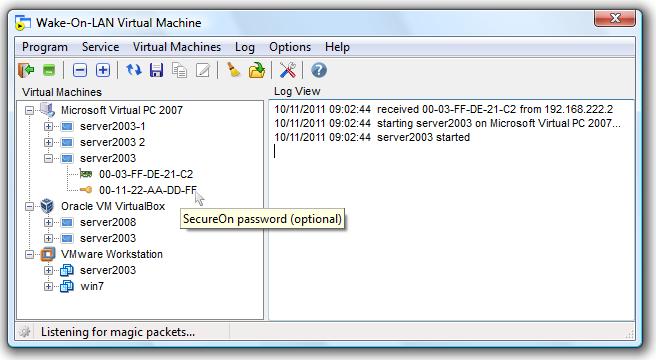 Wake-On-LAN Virtual Machine screenshot